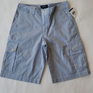 Blue striped Ralph Lauren Polo cargo shorts size16